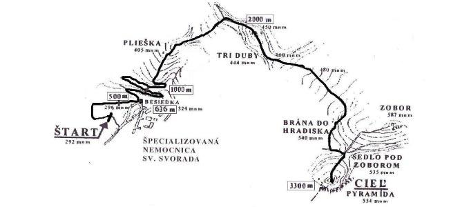 Trasa Zoborského silvestrovského behu